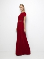 etoile coral delia red long velvet dress side