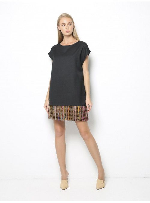 point loom mini dress dark grey colorful woven front