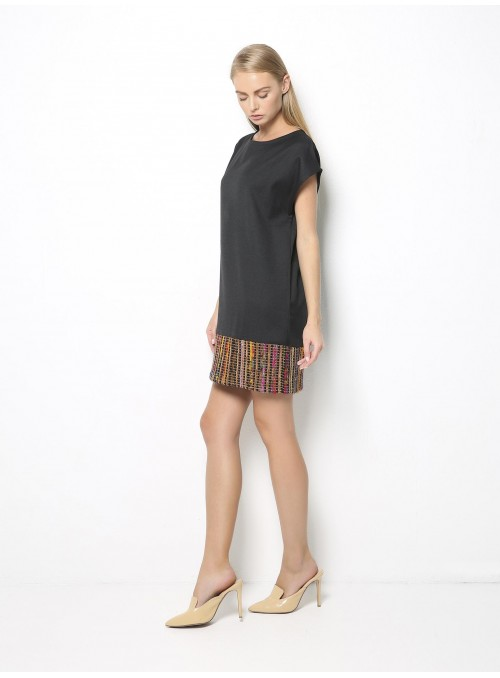 point loom mini dress dark grey colorful woven side