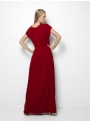 etoile coral delia red long velvet dress back