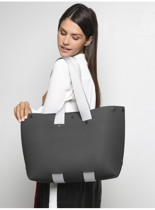 lommer eva two black light grey stripe tote model