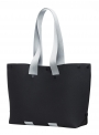 lommer eva two black light grey stripe tote still side
