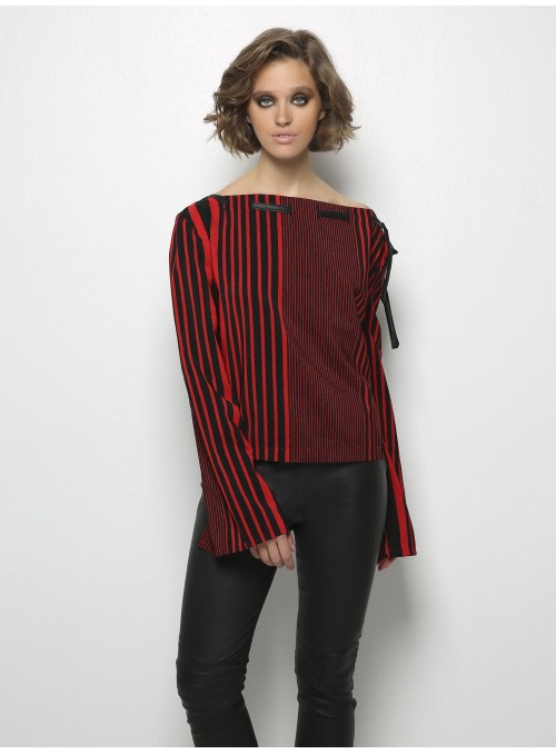 panos apergis vittorio black red longsleeve blouse front
