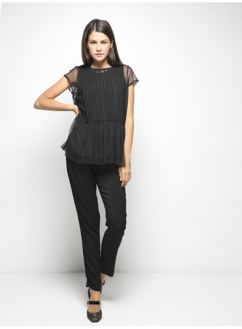 milla black lace top with shirt model