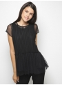 milla black lace top with shirt front