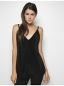 milla sleeveless sequin top black front