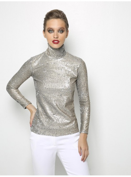 liana camba turtleneck blouse sequin 182-7125-46 front