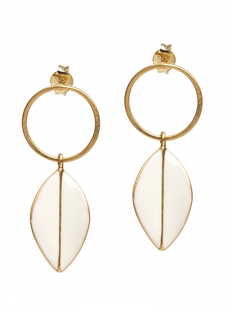 eleni ioannidi small leaves earrings white still