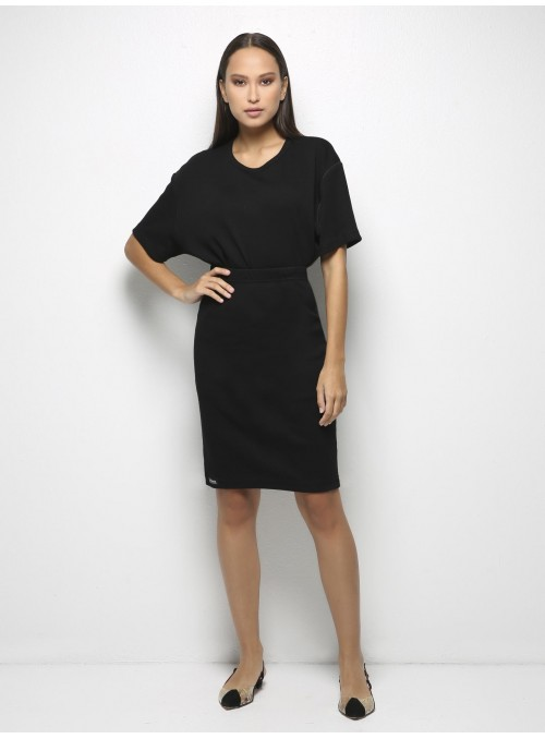 parthenis ribbed cotton tube skirt knee black 001014009 model
