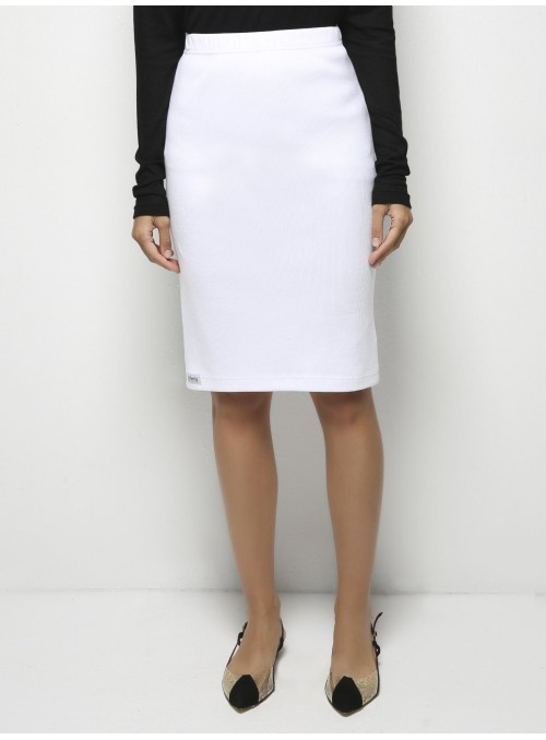 parthenis ribbed cotton knee skirt white 001014009002 front