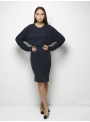 parthenis ribbed cotton knee skirt navy 001014009003 model