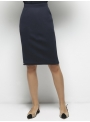 parthenis ribbed cotton knee skirt navy 001014009003 front
