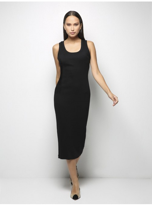 parthenis ribbed cotton long fitted tank dress black front