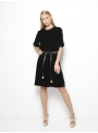 etoile coral daphne black velvet short dress front