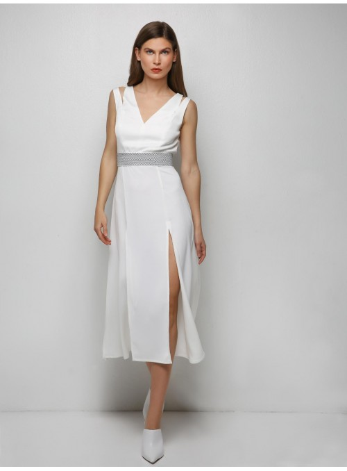 Ying Yang midi white dress m1