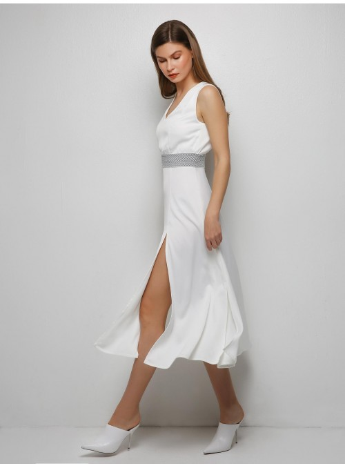 Ying Yang midi white dress m2