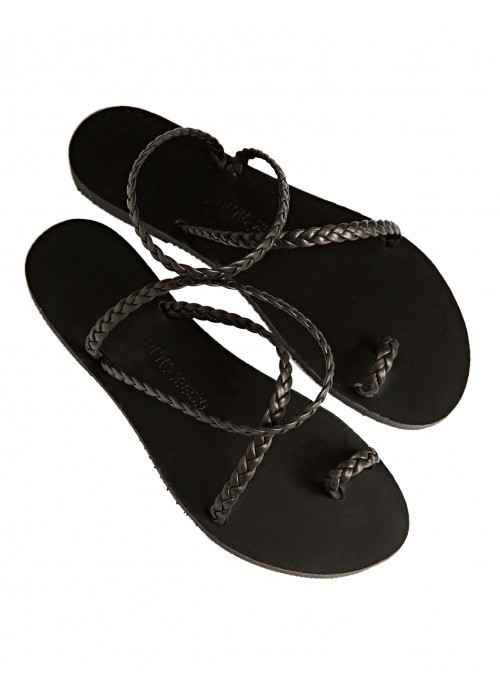 Lindos black greek sandals leather black tress greek salad sandals
