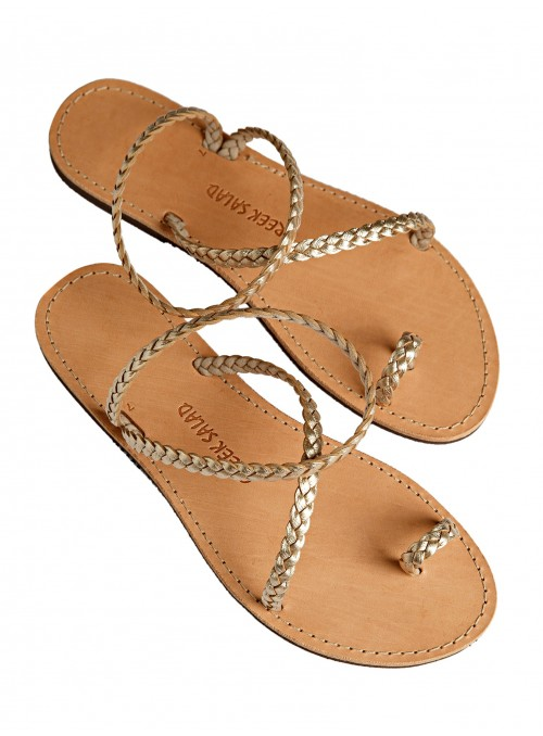 Lindos gold greek sandals leather gold tress greek salad sandals