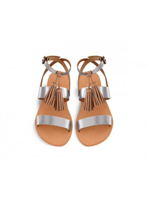 Clea dark silver grecian chick leather sandals