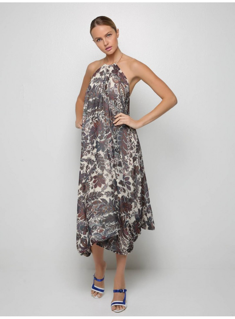 Necklace floral long dress open back liana camba