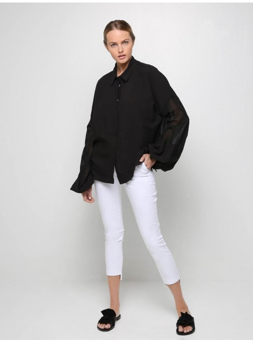 Luxurious black bell-sleeve shirt ioanna kourbela