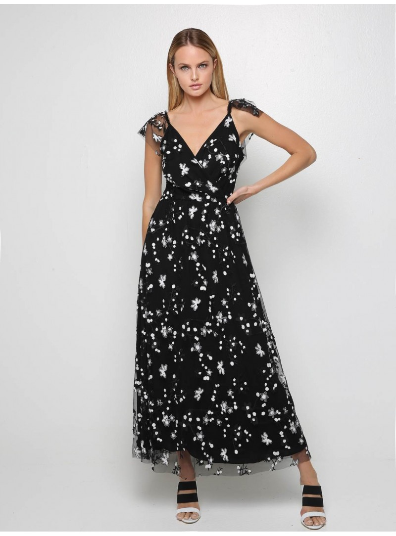 black floral long dress milo designers