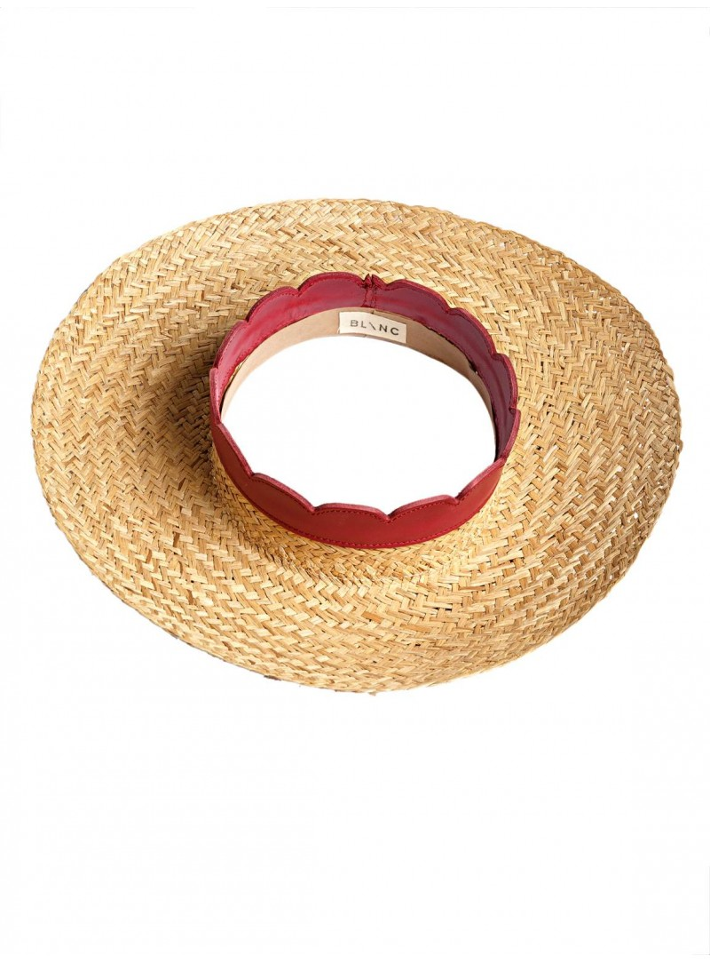 Open Panama Hat natural straw fuchsia leather blanc hats