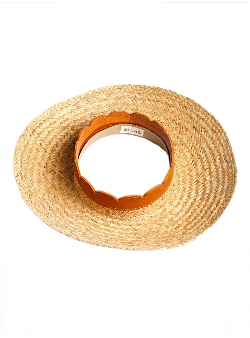 Open Panama Hat natural straw papaya brown leather blanc hats