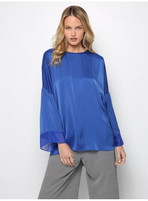 ocean blue blouse top long sleeves yiorgos eleftheriades
