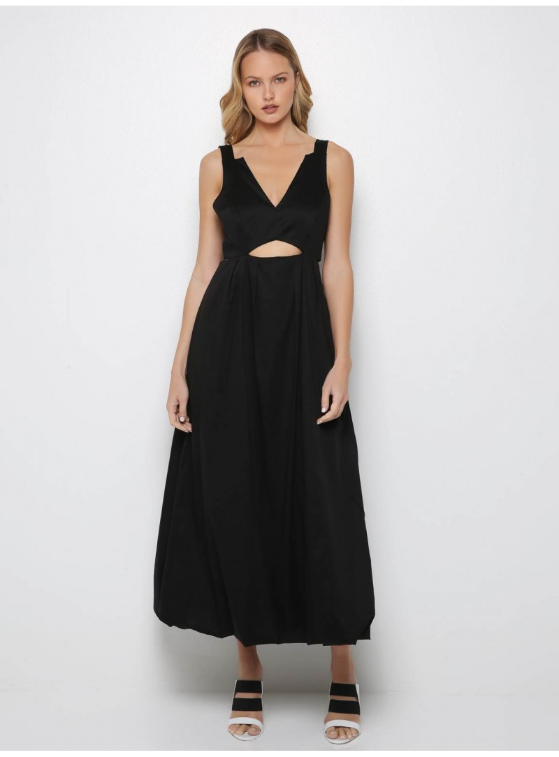 black long maxi dress cut front yiorgos eleftheriades