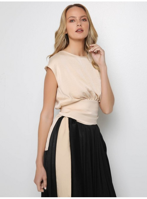 crepe satin beige blouse top belt yiorgos eleftheriades