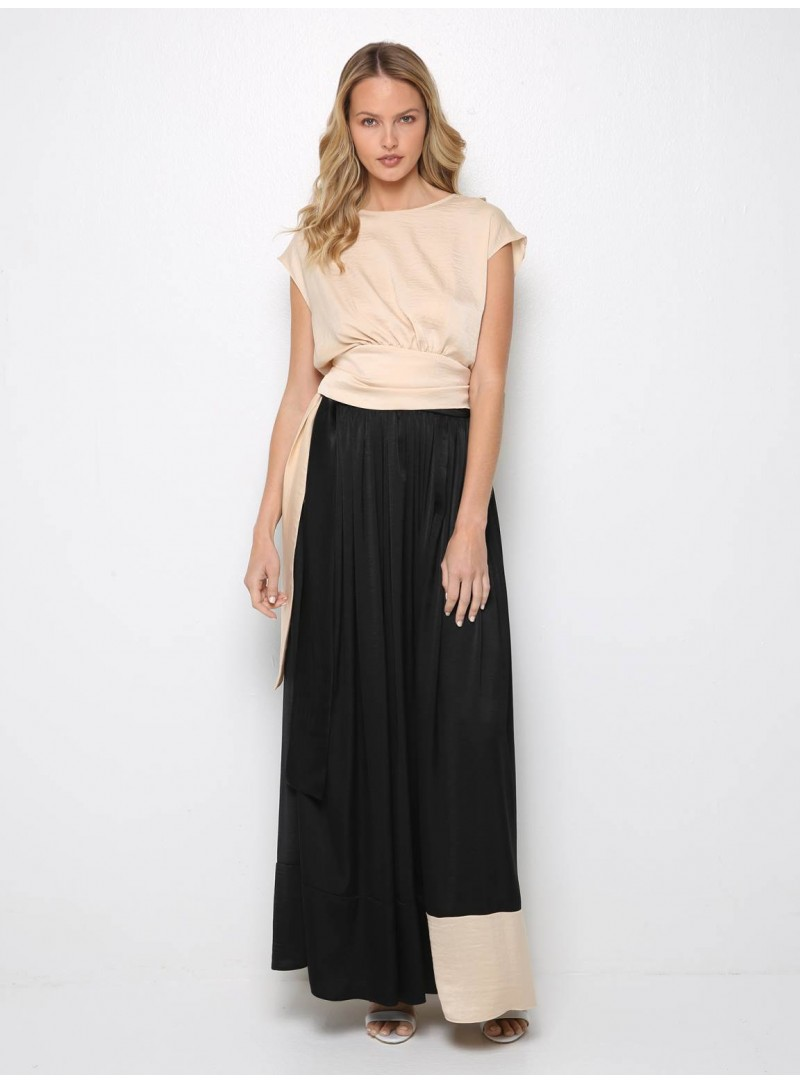 polymorphic skirt dress black and beige crepe satin yiorgos eleftheriades