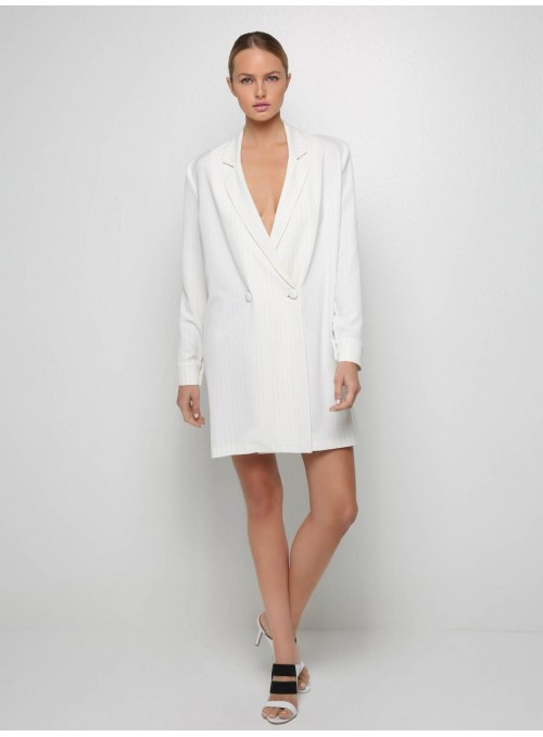 pinstripe blazer white mini dress v neck stelios koudounaris