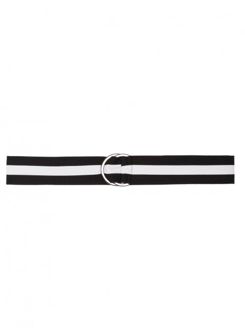 black and white fabric belt signature belt stelios koudounaris