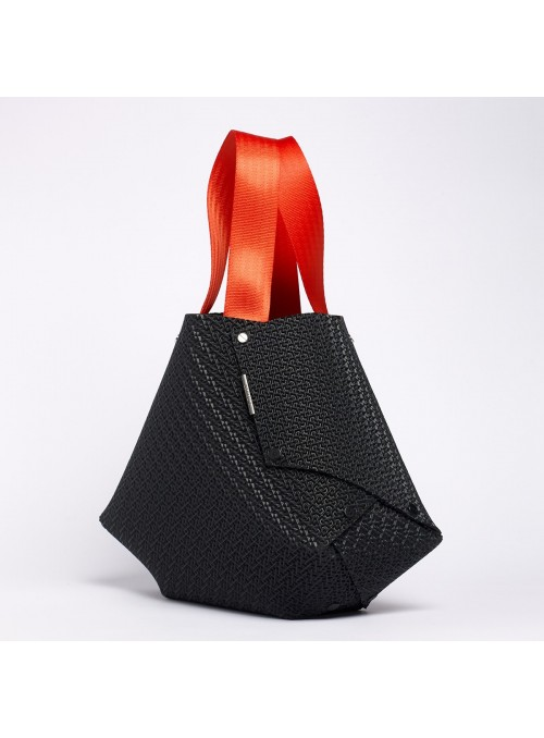 EvaOri Large 3D Textured shoulder bag black red lommer