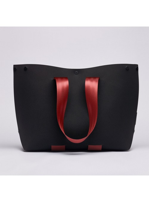 EvaTwo Tote bag black and red bordeaux lommer