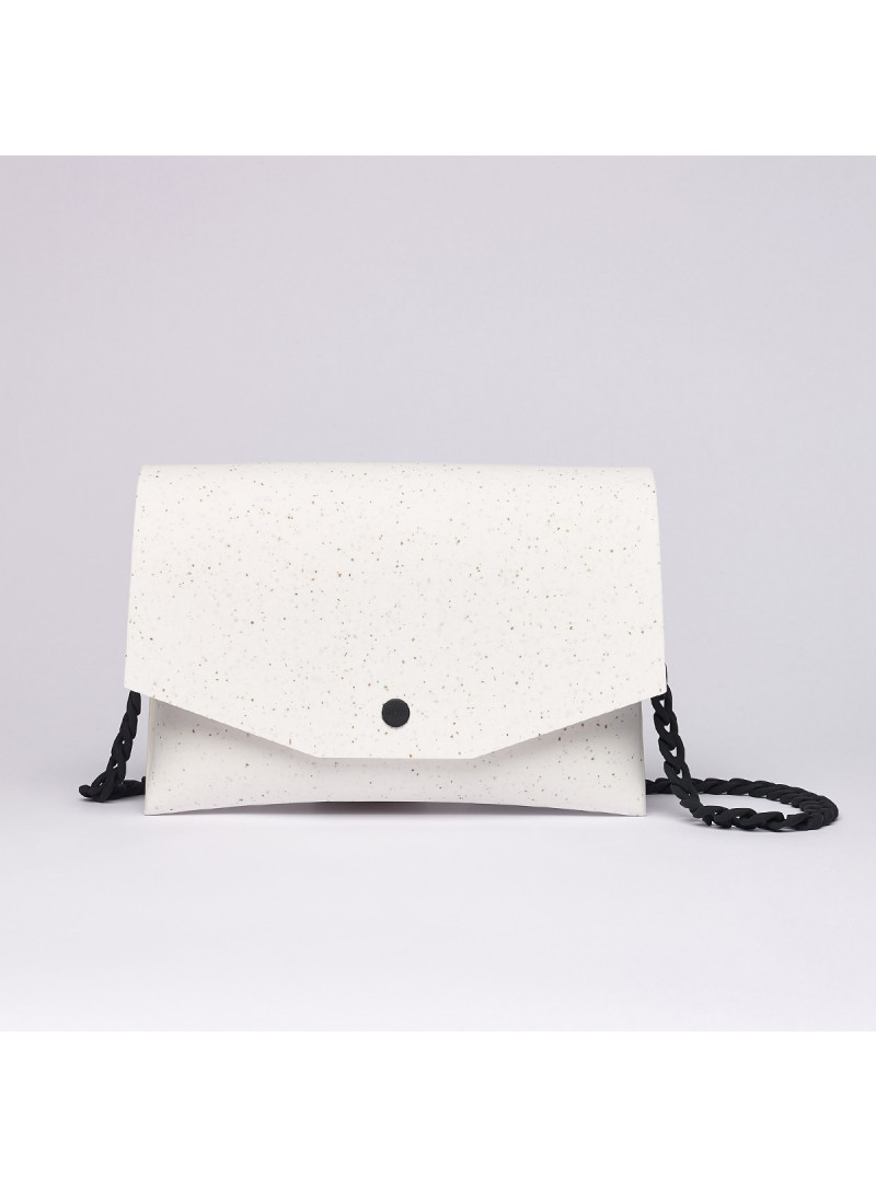 Eva clutch on chain white and black lommer bag