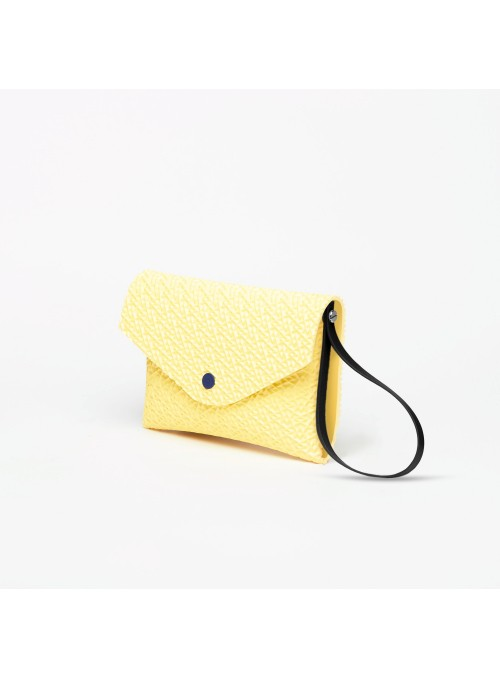 Eva pocket 3d textured bag clutch yellow lommer