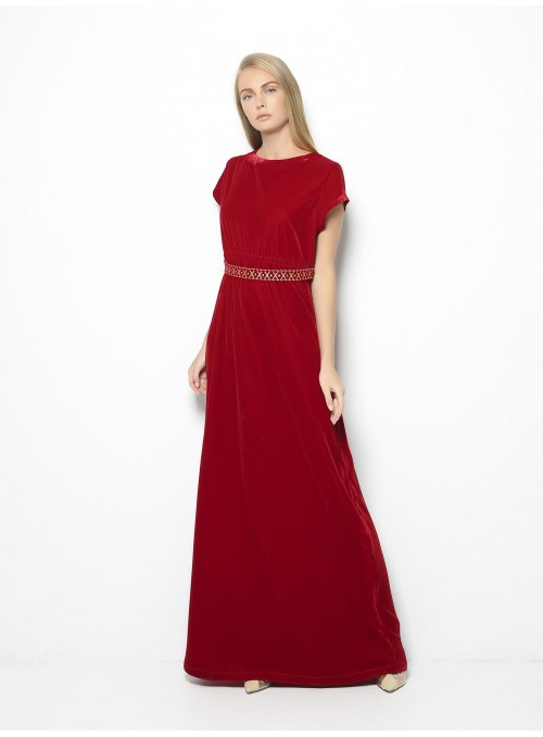 etoile coral delia red long velvet dress front